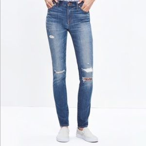 "9"" High Rise Rip and Repair Skinny Jeans"